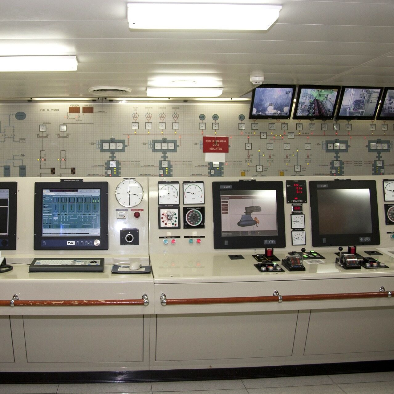 Monitors and displays used for controlling the engine operations of a cruiseliner